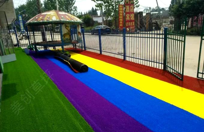Patterned Coloured Artificial Grass Play Area / Dog Friendly Fake Grass