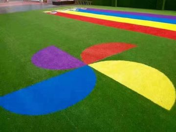 Patterned Custom Artificial Turf Backyard Commercial  Coloured Fake Grass
