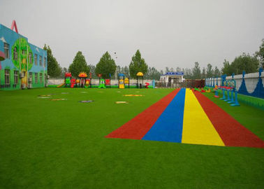 China Patterned Coloured Artificial Grass Play Area / Dog Friendly Fake Grass factory